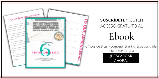 CTA para suscribirse al blog y descargar el ebook tipos de blog