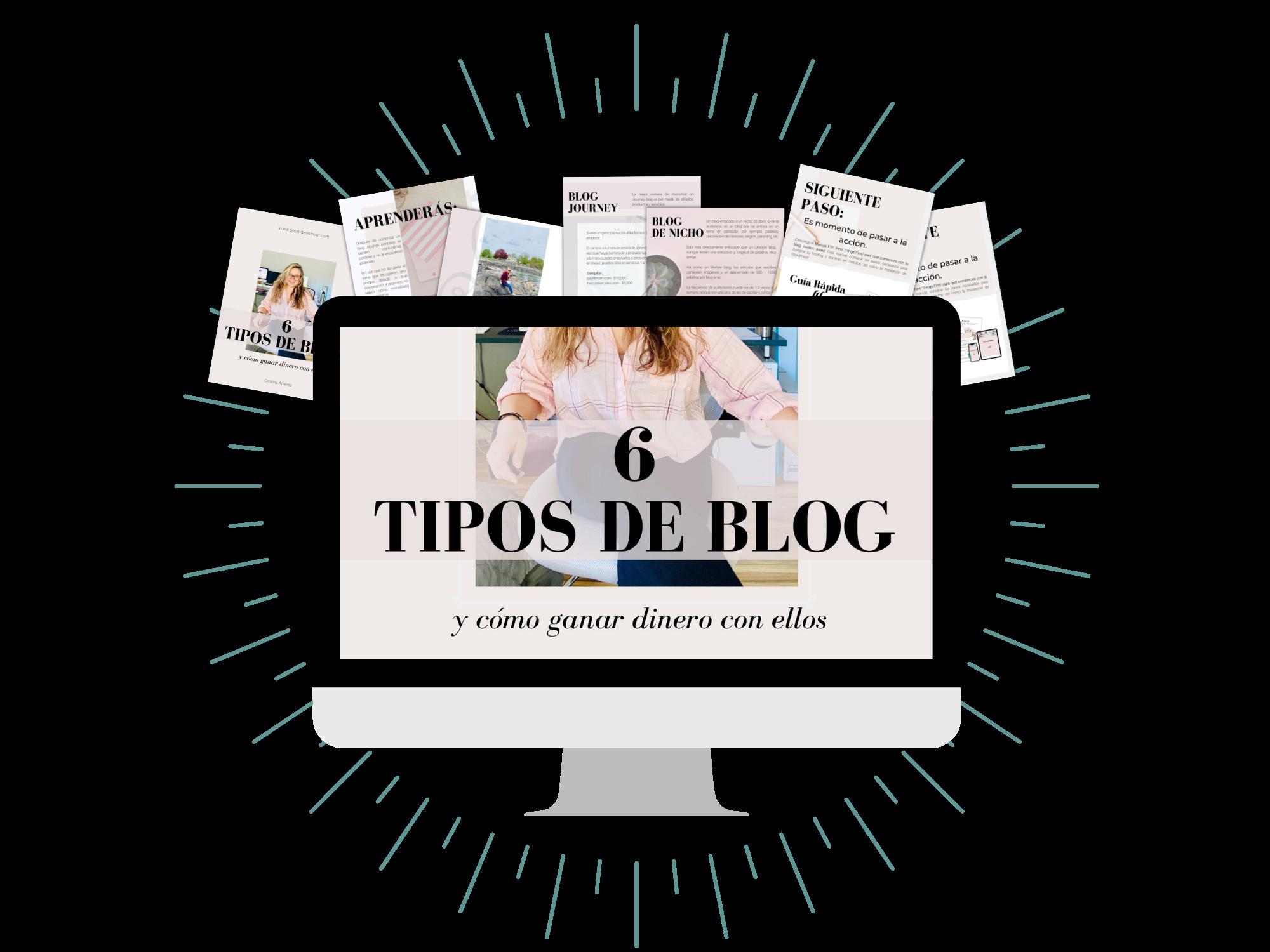 Mockup del ebook 6 tipos de blog